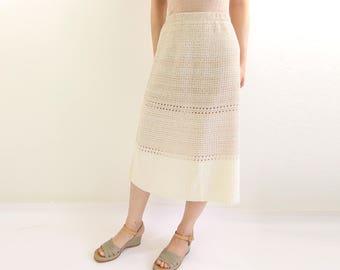 VINTAGE Knit Skirt 1970s Desert Sand
