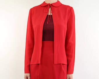 VINTAGE Red Blouse Round Collar 1970s Top