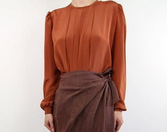 VINTAGE Blouse Burnt Orange Longsleeve