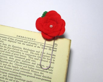 Red Rose Felt Bookmark , Books, Reading, Rose, Flower, Quirky, Felt, Handmade, Page Marker