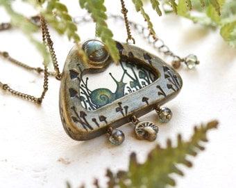 Snail Necklace, Mushroom Art Pendant, Faerie Woodland Miniature Painting, Gold Mushroom Necklace, One of a Kind, Snail Jewelry Toadstool Art