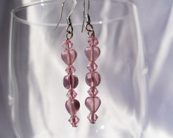 Pink and Purple Earrings with Glass Hearts and Bicone Crystals