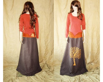 Rusty orange, red assymetric, pointy, earthy, faery, fairy top woodland M