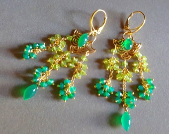 Green Gemstone Chandelier Earrings, Peridot and Green Onyx Asian inspired Earrings Gift For Her