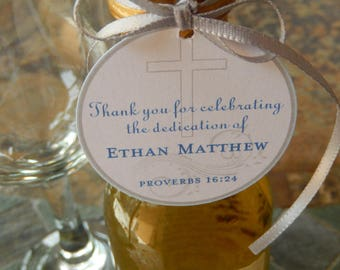 "Baby Dedication Custom Thank You 2"" Favor Tags - Proverbs 16:24 - For Mini Wine or Champagne Bottles - Mason Jar Gift Favors - (40) Tags"