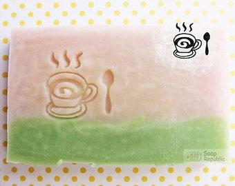 SoapRepublic Coffee or Tea / Acrylic Soap Stamp / cookie stamp