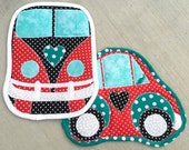 vw, camper, car, hot pad, pot holder, teal, red, black, quilted, van, camping, kitchen, cooking