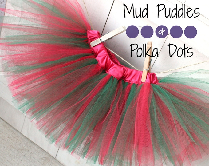 Christmas Satin Lined Tutu Skirt - Green, Hunter, Red, Baby, Infant, Toddler, Girl, Fashion, Boutique, Holiday, Fluffy,  HTT8