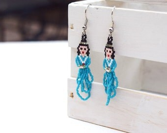 Indian Maiden earrings beaded jewery Native American style Indian girl jewelry seed bead earrings gift for her