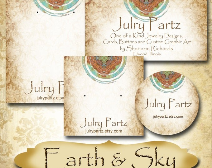 EARTH & SKY Series 1•Custom Tags•Labels•Earring Display•Clothing Tags•Custom •Boutique Card•Tags•Custom Tags•Custom Labels