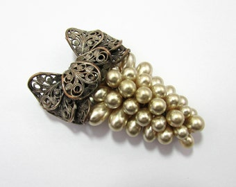 "Deco Fur Clip - Large Silverplate Brass bow with faux pearls - 2.5"" - 1930s-40s - free US shg"