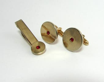 Vintage Swank Cufflinks and Tie Clip -  gold tone with red glass stone - ca 1960s