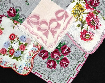 VINTAGE HANKIE ASSORTMENT, Red Rose Bouquets, Bows, Zinnias, Hand Rolled Hem, Cord Edge, All in Very Good or Excellent Vintage Condition