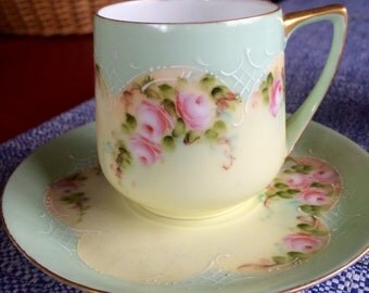 Rosenthal Demitasse Cup and Saucer - Green Border - Pink Roses - Gold Rim - Coffee Cup - Tea Cup