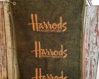 Vintage Golf Towel/Vintage Harrods Department Store Towel/Harrods Knightsbridge/Vintage Gokf/Men's Gift