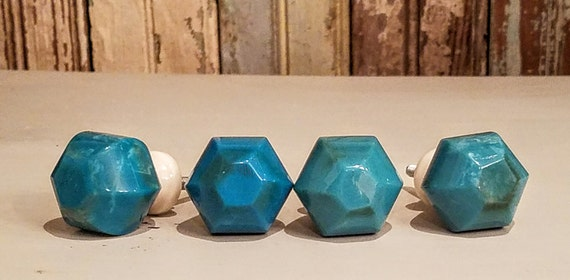 Green Glass Cabinet Knobs And Drawer Pulls: Turquoise Glass Knob/Drawer Pull/Blue Green Knob/Cabinet