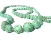 """Carved Celluloid Necklace in Blue Green Flapper Necklace - Art Deco Era Vintage Jewelry Very Long 40"""" Sea Foam Color"""
