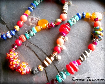 Funky Dotted Lampwork Glass Ethnic Necklace, Colorful Tribal Necklace, African Bead Necklace, Red Coral and Natural Turquoise Necklace