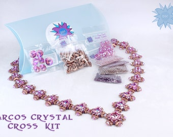 Arcos Crystal Cross Necklace Bead Kit in Copper Pink Purple, Arcos, Minos Par Puca, Swarovski Crystal, Beadweaving Necklace Beading Kit