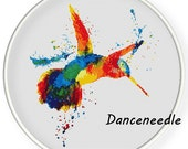 Instant Download,Free shipping,Counted Cross stitch pattern,Cross-Stitch PDF,watercolor hummingbird,zxxc0970
