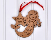 Wooden Mermaid Ornament: 2016 Baby's First Christmas, Personalized Name Girl Ornament, Nautical, Ocean, Sea Life Theme