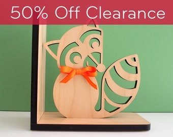 SALE! CLEARANCE 50% OFF! Raccoon Wooden Animal Modern Bookend