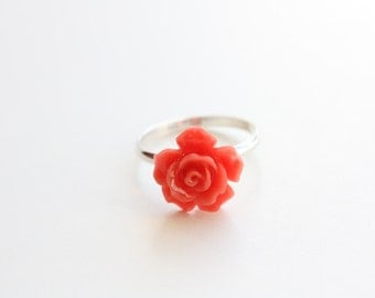 Sterling Silver Red Rose Ring, Rose Cabochon, Sterling Silver Ring Band, Only size 6 available