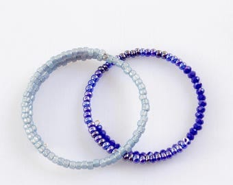 Blue Beach Bracelets, Beaded Bracelets, Glass Beaded Bracelets, Stack Up Bracelets, Ready to Ship