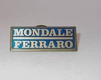 VIntage 1984 Walter Mondale / Geraldine Ferrero Brass Campaign Pin-Blue & Gold Color-FREE SHIPPING!