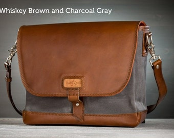 The Leather Messenger Bag - Whiskey Brown with Charcoal Gray | Canvas Messenger Bag, Leather Laptop Bag & Crossbody Bag