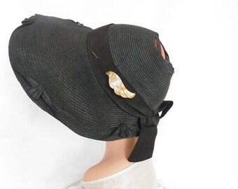 1930s hat, art deco pin, black poke, open crown