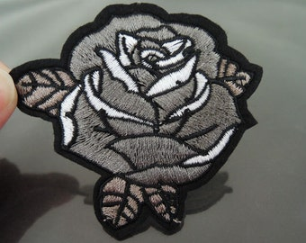 Iron on Patch - Gray Rose Patch Flower Patch Flowers Patch Iron on Patches or Sewing on Patch Embellishment