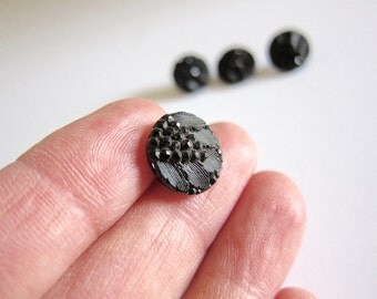Vintage Sewing Vintage Buttons Black Buttons Glass Buttons Victorian Buttons Mourning Buttons Small Buttons Gift For Her Button Destash A85