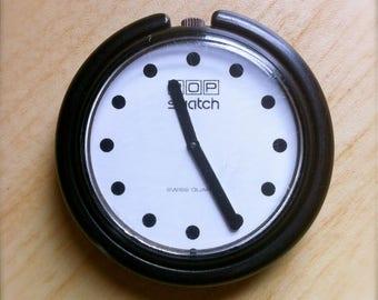 Vintage Pop Swatch - 1986 Jet Black Dot - Original Design - Collectible
