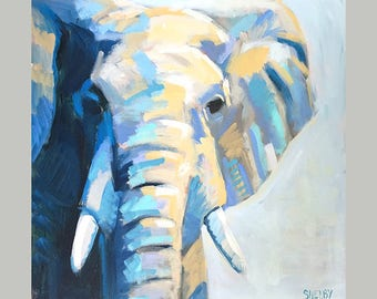 African Elephant Painting Signed By Artist, Original Elephant Wall Art, Safari Wall Painting, Elephant Room Decor, Wildlife House Decor