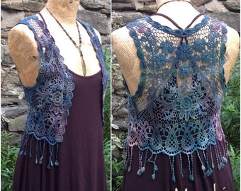 Lace Pixie Vest Waistcoat, Festival Fairy Top hand dyed