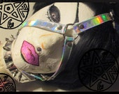 Holographic Rainbow Futuristic Face Mask Head Harness Vegan Friendly