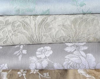 Bundle of Vintage French Fabric Pieces material Blocks Woven Damask Linen Textiles cutters pack