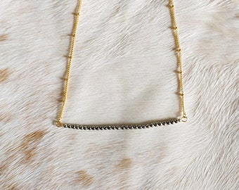 Pyrite and Gold Bead Bar Necklace - pyrite necklace - bead bar necklace - dainty necklace - satellite chain - layering necklace - bohemian