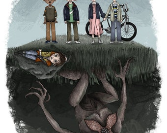 Stranger Things - 5 x 7 Illustration Print