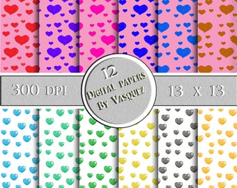 Digital print, digital download, 12 Digital lovely hearts and colors paper for decorations