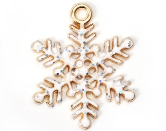 2 or 10 pcs. Rose Gold Plated Glitter Snowflake Winter Christmas Enamel Charms Pendants - 21x17mm