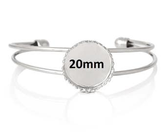 "3pcs. Silver Tone Open Cuff Bangle Adjustable Bezel Cabochon Bracelets - 16.5cm (6 1/2"") - 20mm Glue Pad - Made of Copper!"
