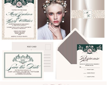 Lady Chloe luxury wedding invitation suite. Emerald and Pearlized . Invitation Sample. Printing service available