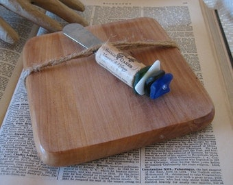 Wood Cutting Board With Cork and Faux Sea Glass Cheese Spreader