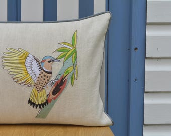 Embroidered Wood Pecker Cushion Cover , Embroidered Bird Pillow Cover , Yellow Bird Cushion Cover , Spring Summer Decor , Bird Pillow Cover