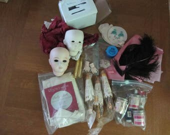 Doll making supplies and accessories - heads, umbrellas, feathers, limbs, more