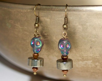 Pyrite titanium skull earrings bronze blue purple dangle