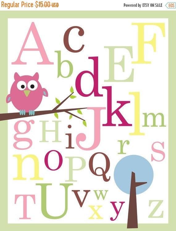 ON SALE ABC Poster print - Owl on branch - nursery wall decor