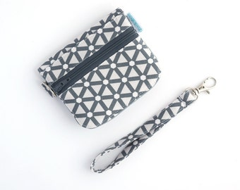 ID Card Wallet - Small Wallet for Women - Compact Wallet - Gray Wallet -  Handmade by Zookaboo - Ready to Ship